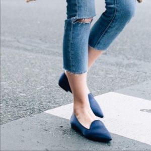 Rothy's Navy Blue Pointy Loafers Limited Edition